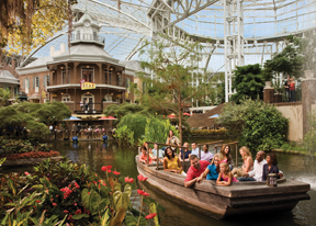 A river runs through the Delta Zone at Opryland where 10-story high atrium assures pleasant weather year round.
