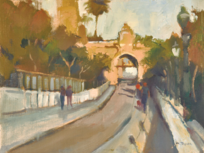 'Laurel Street Bridge,' 9x12 oil on canvas by Marjorie Taylor