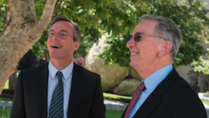 Qualcomm CEO Paul Jacobs (left) with his father, company co-founder Irwin Jacobs. Alexander Matthews/UCSD