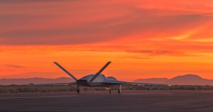 The Predator drone on the runway.