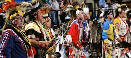 Participants in the annual Lipay Tipay Mateyum Powwow, held at SDSU