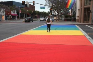 Rainbow crosswalk in West Hollywood