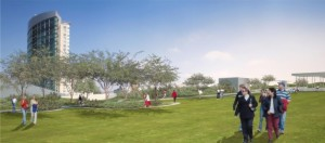 Rendering of rooftop park