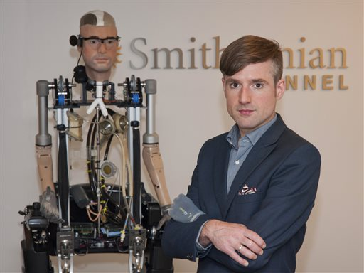 In this Wednesday, Oct. 9, 2013 photo provided by Showtime, Bertolt Meyer, a social psychologist for the University of Zurich, poses for a photo in New York. Meyer is the face of the the Bionic Man and is featured in the Smithsonian Channel original documentary, 'The Incredible Bionic Man.' (AP Photo/Showtime, Joe Schram)