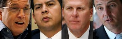 From left: Mike Aguirre, David Alvarez, Kevin Faulconer, Nathan Fletcher