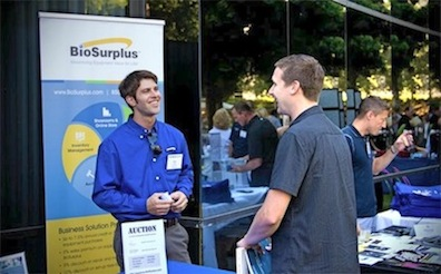 Biotoasters president Zackary Prag runs a booth for his day job as a BioSurplus sales rep.