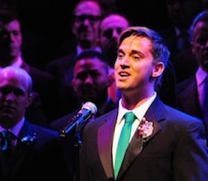 First tenor Kevin Hannahoe sings at the Gay Men's Chorus holiday show at the Balboa Theatre.