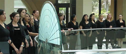 The SDSU Chamber Choir performed in one of the first arts visibility initiative events in Love Library.