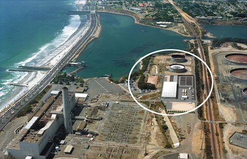Aerial view shows the location of the desalination plant.