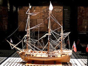 Model of the Whydah pirate ship.