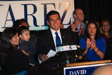Councilman David Alvarez with supporters on Election Night.