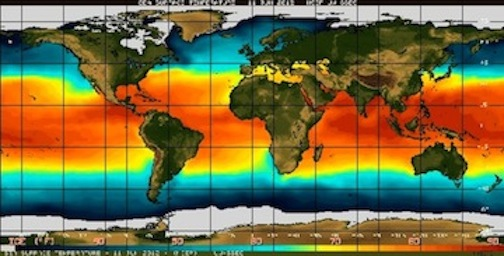 Sea surface temperature in the equatorial Pacific Ocean (above).