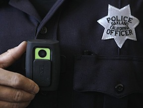 Uniform camera worn by an Oakland police officer.