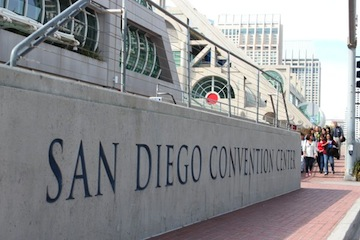 A line forms to enter the San Diego Convention Center