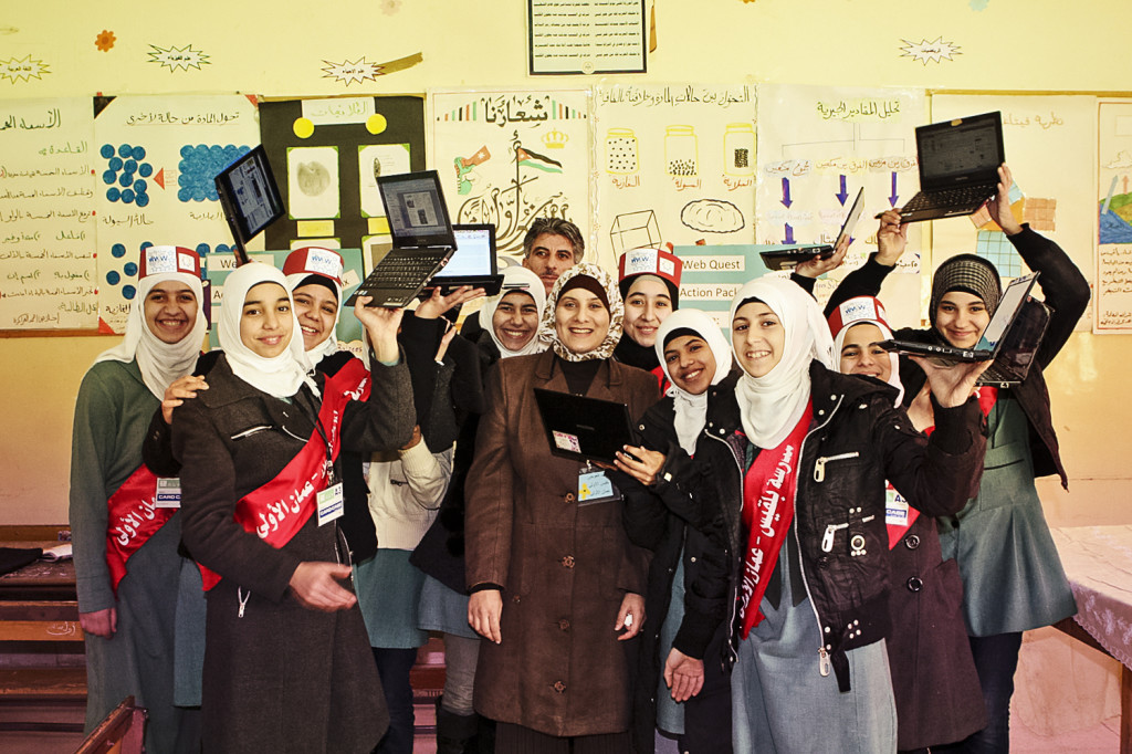Girls from Jordan participated in the 'Personalized Learning via 3G' in Jordanian Schools' program, which provided 3G-enabled netbooks so they could collaborate with their teachers and each other anytime, anywhere.