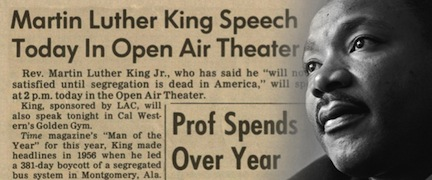Rev. Dr. Martin Luther King Jr. and the Daily Aztec headline about his visit to San Diego State.