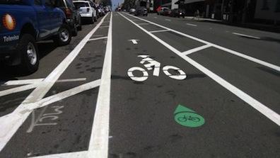 Dedicated bike lane, Fifth Avenue.
