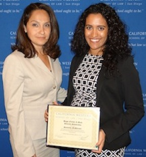 Scholarship recipient Samantha McPherson, a second-year law student at California Western University (right), with Rahil Swigart, member of the Higgs Fletcher & Mack Diversity Committee.