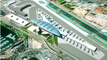 This alternative replaces Terminal 1 and the Commuter Terminal with a large new terminal.