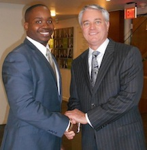 Vernon Evans with Higgs partner Steven Cologne.