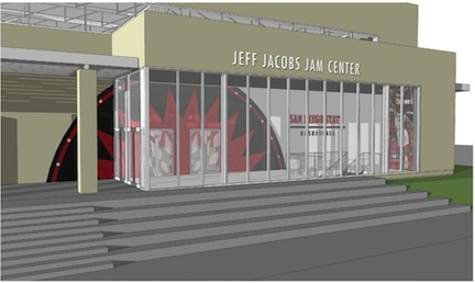 Rendering of the Jeff Jacobs JAM Center to be built at SDSU.
