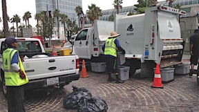 A Clean & Safe crew cleans up Downtown after Comic-Con.