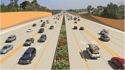 Rendering of the double express lanes planned for Interstate 5 between La Jolla and Oceanside. (SANDAG)