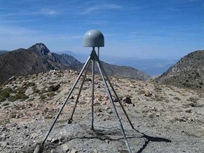 Plate Boundary Observatory GPS station P466, located in the Inyo Mountains near Lone Pine, California. P466 is mounted on a deep-drilled braced (Wyatt-Agnew) monument, and its displacement data were used to determine water loading changes in the western United States. (Shawn Lawrence, UNAVCO)