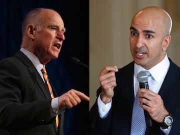 Gov. Jerry Brown and challenger Neel Kashkari