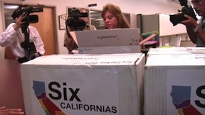 Campaign workers packs boxes with ballot petitions. Courtesy Six Californias campaign