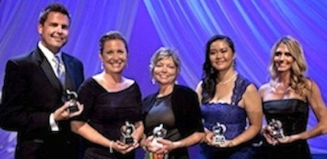 San Diego County Teachers of the Year, from left: John Berray, West Hills High School; Maria Teran-Cruz, Jefferson Elementary School; Mary Goins, Lakeside Middle School; Khamphet Pease, Wilson Middle School; and Sara Matthews, Sarah Anthony School.
