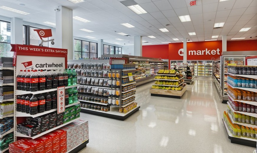 Interior of the TargetExpress store in the Dinkytown neighborhood of Minneapolis, Minn. The store is deliberately spare, with Target attempting to give a spacious feel to the aisles.