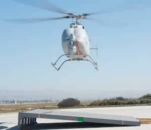 Northrop Grumman's MQ-8C Fire Scout prepares to complete a precision landing on a sloped surface at Naval Base Ventura County Point Mugu in preparation for at-sea testing. (Photo courtesy Northrop Grumman)