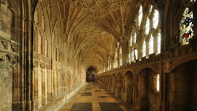 The Cloister of Gloucester Cathedral in England, the film location for Hogwarts.