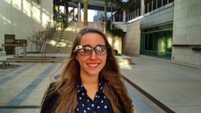 Zoe Jerchower, a Google Glass guide, with a unit on a frame by designer Diane Furstenberg. (Photo by Chris Jennewein)