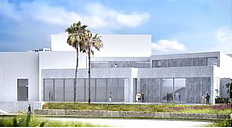 The proposed design for the western facade of the museum building, as seen from the coast.