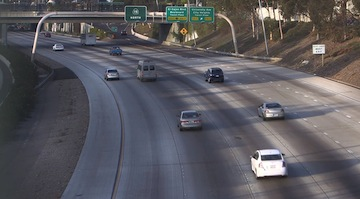 Cars driving through City Heights on northbound 15. (Photo/Katie Schoolov/KPBS)