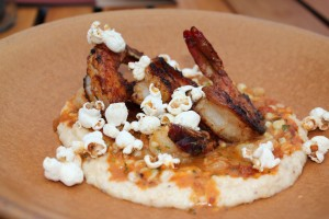 Shrimp and Grits with Popcorn.