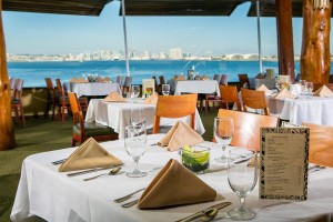 Diners can enjoy views of San Diego Bay.