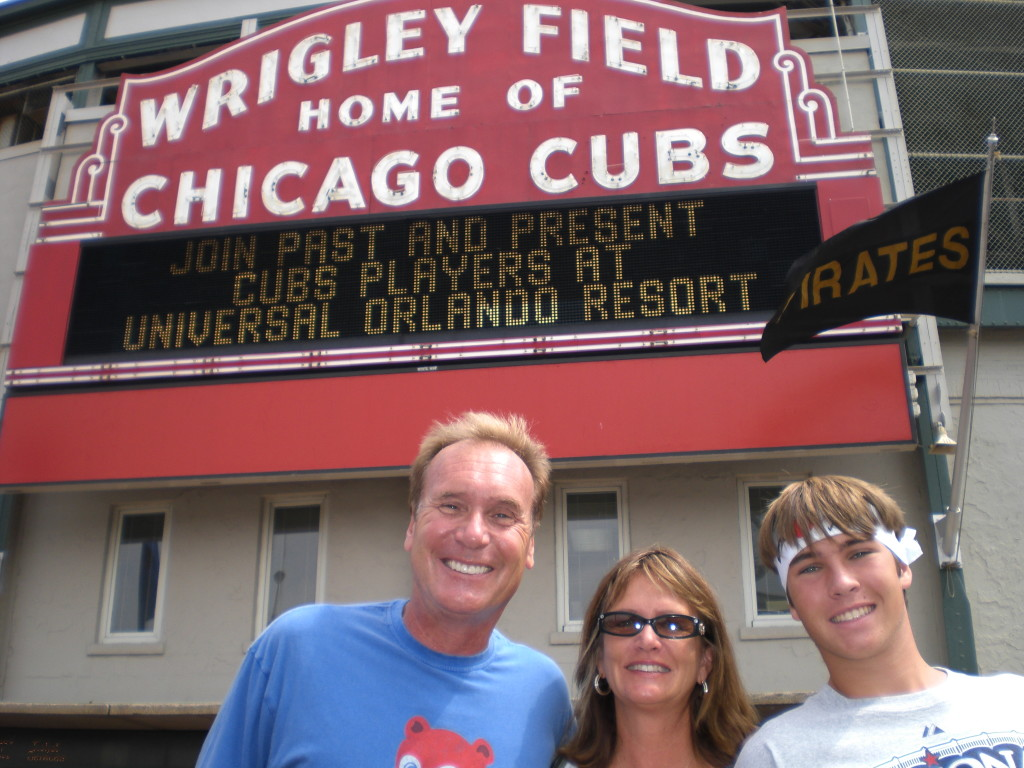 Himmel, a Chicago Cubs fan, at Wrigley Field with wife Joanie and son Miles.