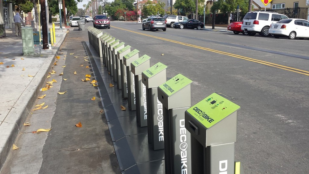A DecoBike bike sharing station at 28th and B streets in Golden Hill on Thursday. The station has bike stands but no bikes. (Photo by Clakre Trageser)