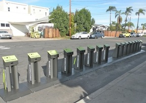 DecoBike station adjacent to  Paesano's restaurant in North Park.