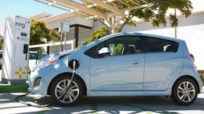 A Chevrolet Spark EV recharges in San Diego. Photo by Stan Liu for Chevrolet