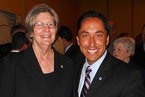 Sherri Lightner and Todd Gloria in lighter times -- at the Roosevelt Dinner on April 14, 2012.