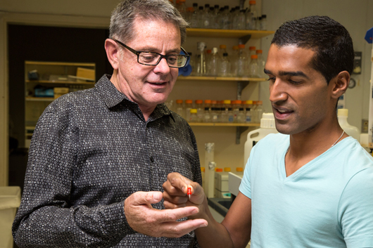 Salk Professor Martyn Goulding and Jovanny Bourane, Salk research associate.