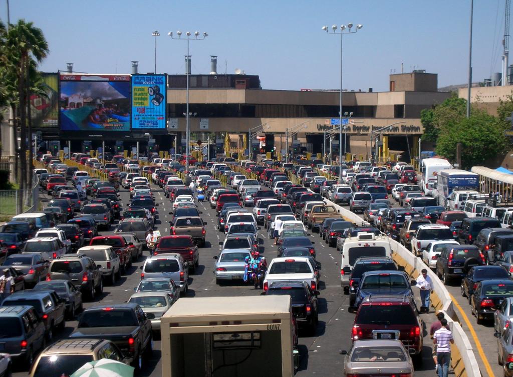 Traffic lineup at San Ysidro border crossing.