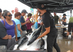 The Tuna Harbor Dockside Market draws a crowd.