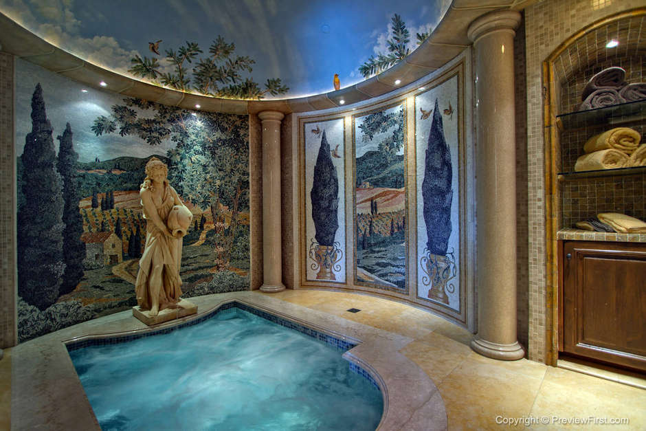 The compound features this full Roman spa and steam room.
