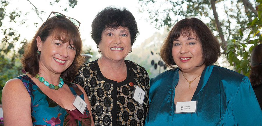 From left: Cristina Della Coletta, dean of the Division of Arts and Humanities; Carol Vassiliadis, member of the Hellenic Cultural Society of San Diego; and Thespine Kavoulakis, Associate of the Chancellor, UC San Diego (spouse of UC San Diego Chancellor Pradeep K. Khosla).