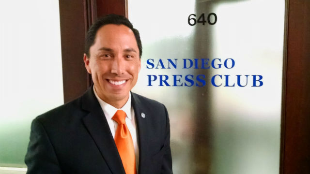 San Diego City Councilman Todd Gloria outside the San Diego Press Club office in the historic Spreckels Building downtown. (Photo by Chris Jennewein)